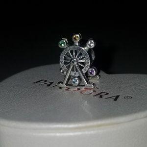Auth Pandora Ferris Wheel Charm w/Multi Crystals